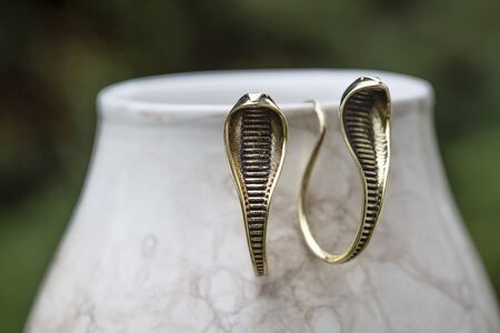 Brass metal boho style cobra snake shape Indian earrings