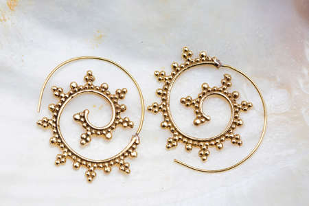 Brass metal boho style Indian earrings