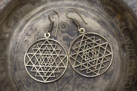 Brass metal boho style Indian sacred geometry earrings