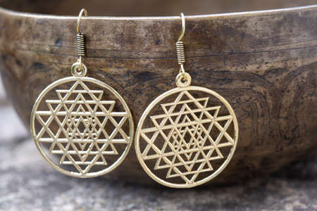Brass metal boho style Indian sacred geometry earrings
