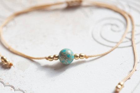 Mineral stone bead waxed string tiny elegant bracelet