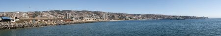 Panoramic view of the port of Valparaiso, Chile. Super panoramic photo made with several consecutive shots Banco de Imagens