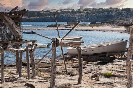 Traditional Wooden Pier In The Mediterranean. Formentera, Balearic Islands, Spain