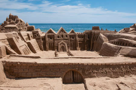 Sand castle on a beach in Chile. Sand castle on the Chilean coast on the shore of the Pacific Ocean. Photo with Horizontal Orientation