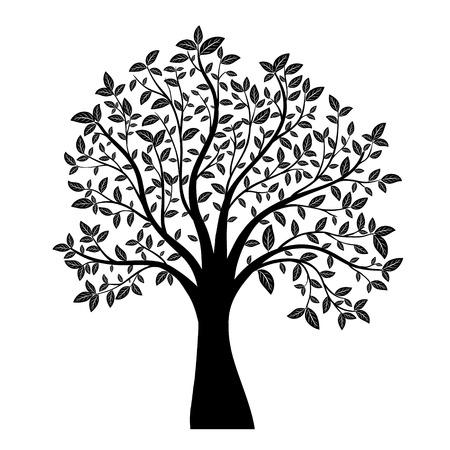 árbol con hojas de vectores Ilustración de vector