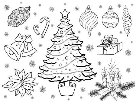 drown: Vector set of hand drown christmas elements