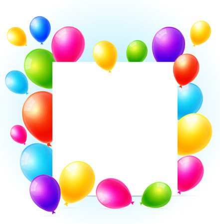 funny birthday: celebration background with colorful balloons