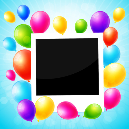 colorful frame: Photo frame with colorful balloons background Illustration
