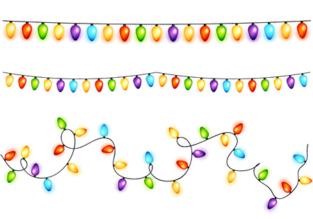 christmas bulbs: Set of colorful christmas bulbs garlands