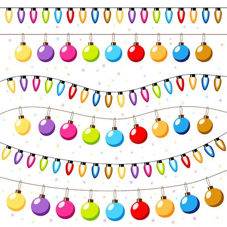 christmas light bulbs: Christmas light bulbs garlands background