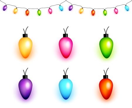 Kleurrijke gloeilampen van Kerstmis vector