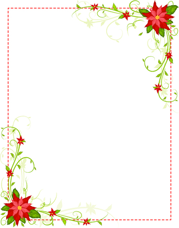 poinsettia frame vector Illustration