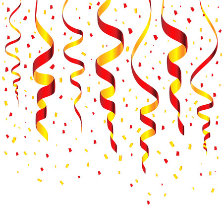 streamers: Streamers and confetti background vector