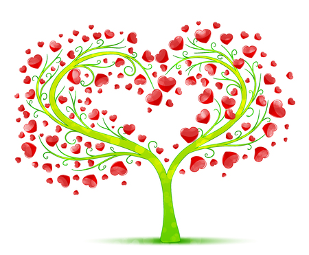 tree silhouettes: love tree vector Illustration