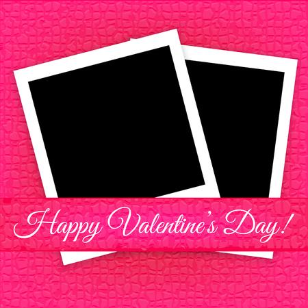 Valentijnsdag kaart met fotolijsten vector