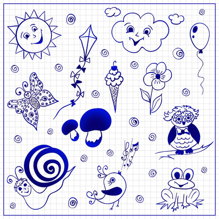 Vector infantili scarabocchi su un foglio di carta