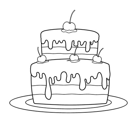 Outlined birthday cake for coloring book vector