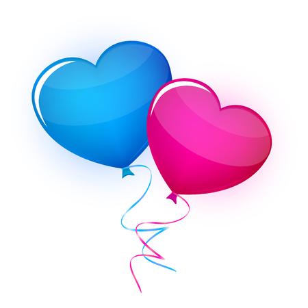 corazones azules: Dos corazones del globo en el fondo blanco del vector