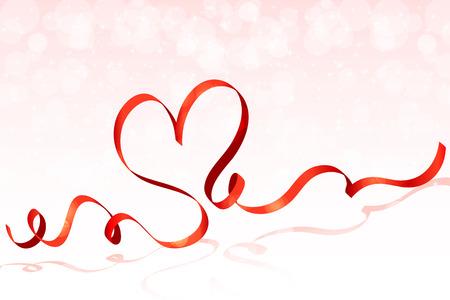 ribbon heart: Red ribbon heart vector Illustration