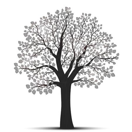 Baum-Silhouette mit Blättern Vektorgrafik