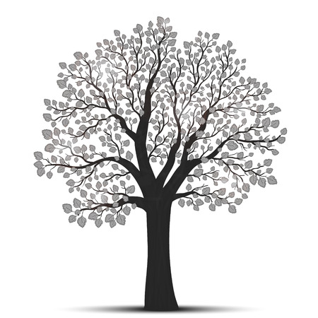 Tree silhouette with leaves