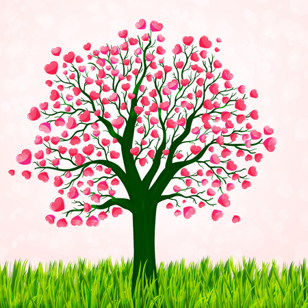 love tree: Valentines Day background with love tree vector