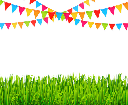 Greeting card with colorful flags and green grass vector Vector Illustration