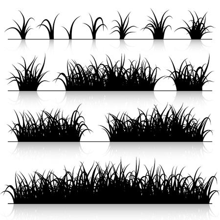 Grass silhouette set