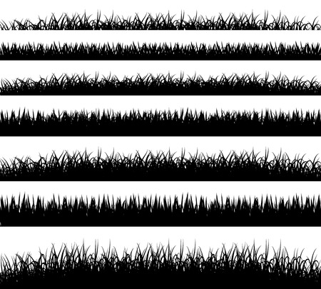 Grass borders silhouette on white background Stock Illustratie