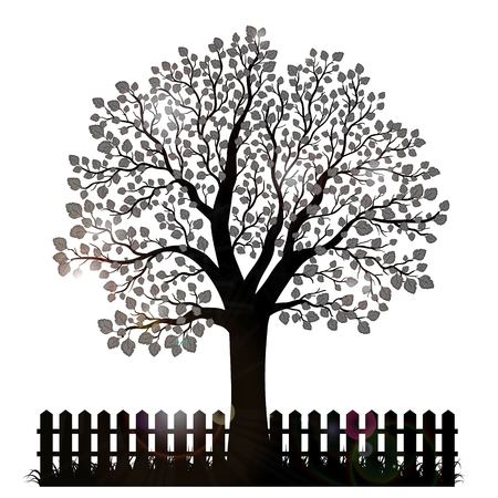 garden fence: Tree silhouette with leaves and garden fence Illustration