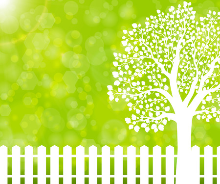 Green nature background with garden fence and tree Illustration