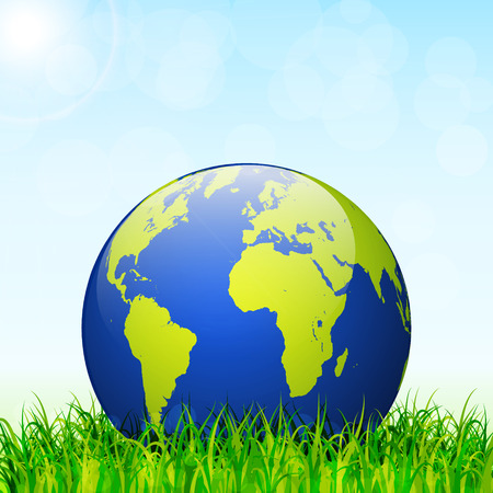 green environment: World environment day concept. Earth globe with green grass and blue sky vector background Illustration