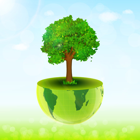 green environment: World environment day concept. Earth globe with green grass, tree and blue sky vector background
