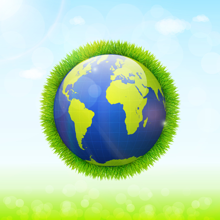 green environment: World environment day concept. Earth globe with green grass and blue sky background Illustration