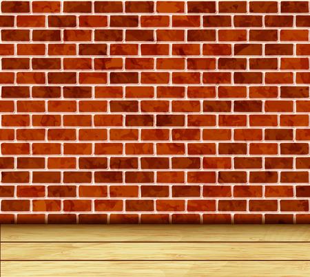 wooden floor: Brick wall and wooden floor background vector