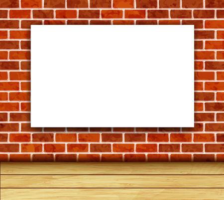 Vector achtergrond met witte banner op bakstenen muur