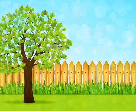 Garden background with green tree and wooden fence vector