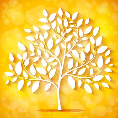 Herbst-Hintergrund mit Baum-Silhouette Vektor