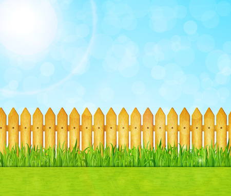 Garden background with green grass and wooden fence vector Illustration