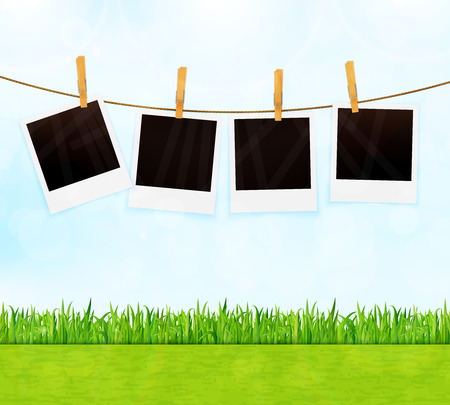 rope vector: Summer background with photos on rope vector