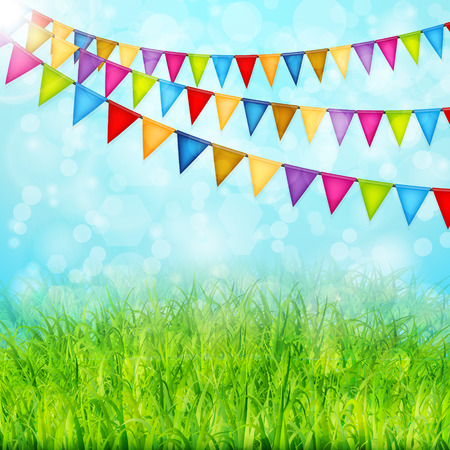 outdoor event: Greeting card with colorful flags and green grass vector