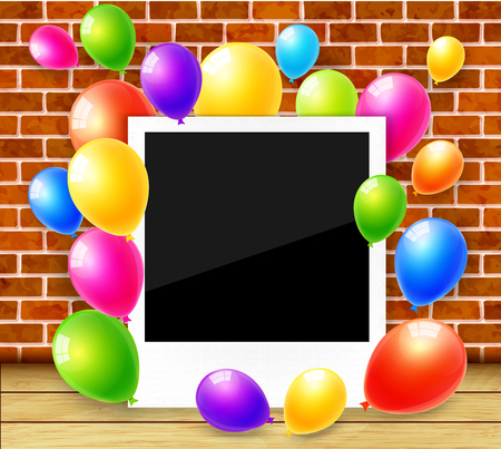 colorful frame: Photo frame with colorful balloons vector background Illustration