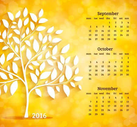 Calendar 2016. September, october and november months. Autumn tree background vector
