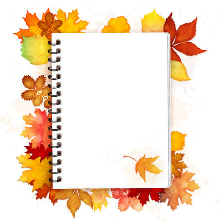 spiral notebook: Open spiral notebook with autumn leaves vector background