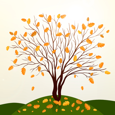 grass vector: Autumn background with tree and grass vector