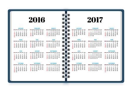 open notebook: Open notebook paper with calendars for 2016, 2017 years background