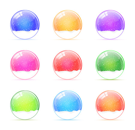 Set of colorful snow globes vector Illustration
