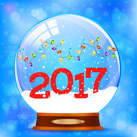 Snow globe 2017 vector Illustration