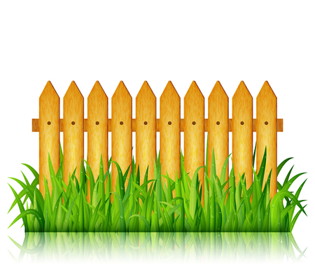Garden fence with green grass on white background vector Illustration