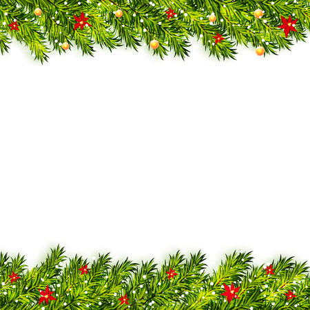 Christmas tree branches frame vector